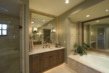 Interior : Bathroom with square mirror in palm springs home