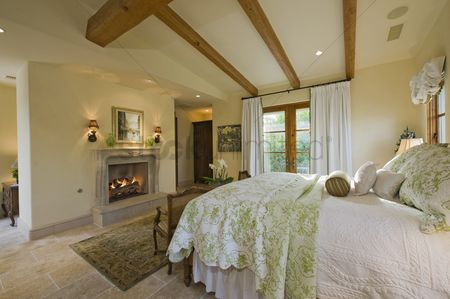 Furniture : Bedroom interior with fireplace