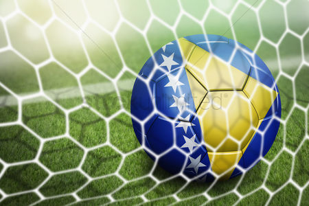 Pitch : Bosnia and herzegovina soccer ball in goal net