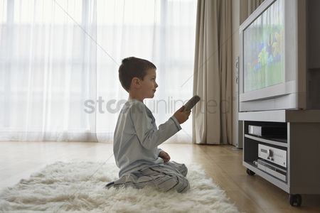 Remote : Boy  7-9  sitting on floor watching cartoons in television