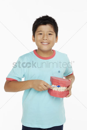 Tooth brush : Boy holding a set of dentures and brushing it