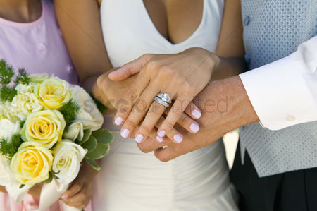 Body : Brides hands and wedding ring  close-up