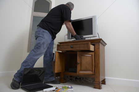 Thief : Burglar stealing television from house