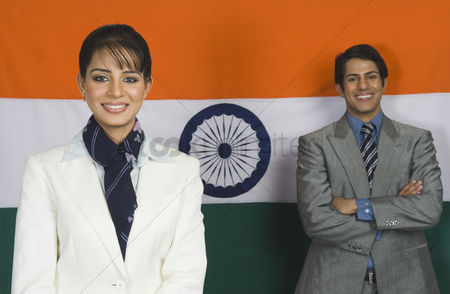 Respect : Business executives in front of an indian flag