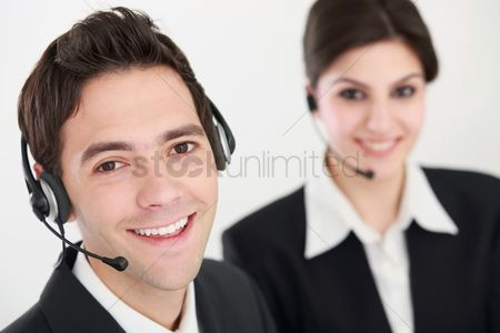 Advice : Business people with telephone headset