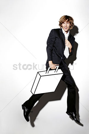 Funny : Businessman carrying briefcase