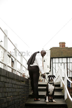 Stairs : Businessman pulling his stubborn dog