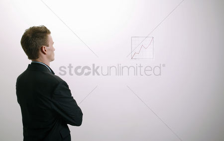 Mature : Businessman studying the line graph