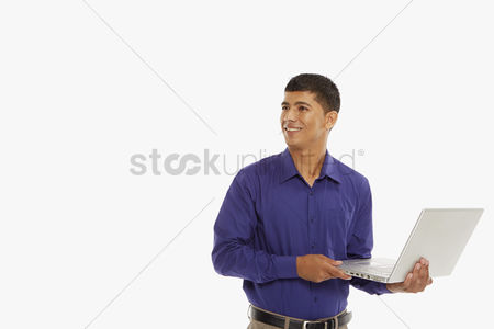 Portability : Businessman using a laptop