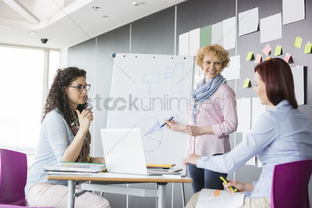 Creativity : Businesswoman explaining pie chart to colleagues in creative office