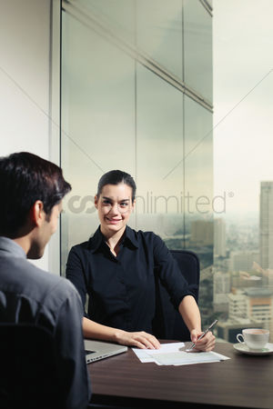 Face : Businesswoman interviewing a candidate