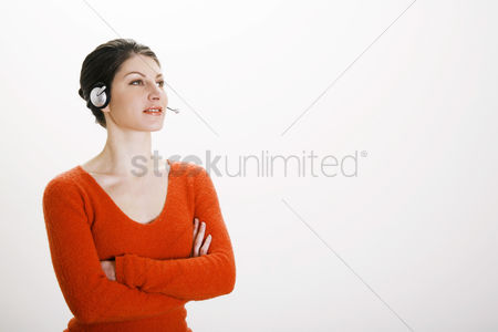 Profession : Businesswoman talking on the headset