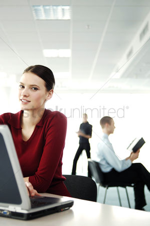 Technology background : Businesswoman using laptop