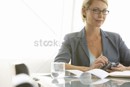 Blank : Businesswoman using pda