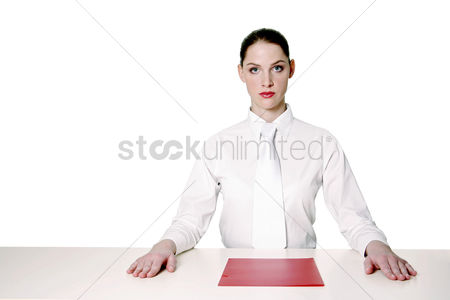 Determined : Businesswoman with a document in front of her