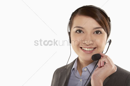 Assistance : Businesswoman with headset