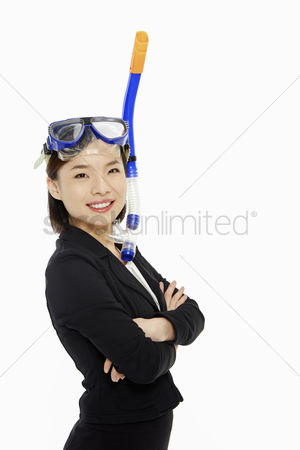 Diving : Businesswoman with scuba diving gear