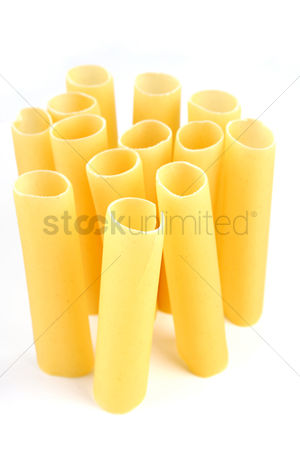 Collection : Cannelloni pasta on white background