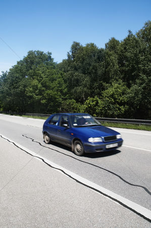 On the road : Car moving on the road  cesky krumlov  south bohemian region  czech republic