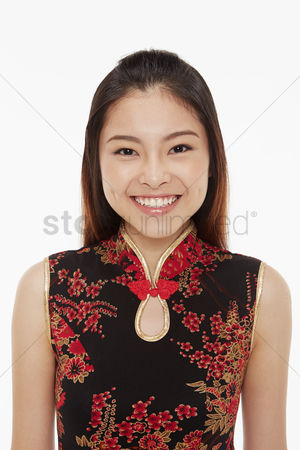 Lunar new year : Cheerful woman smiling