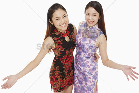 Traditional clothing : Cheerful women smiling
