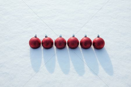 China : Christmas baubles in a row