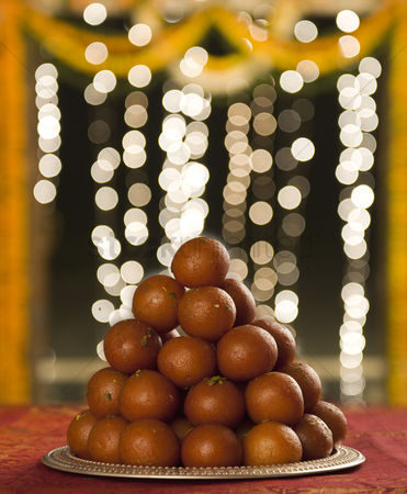 Diwali : Close-up of a heap of gulab jamuns  a popular traditional indian sweet