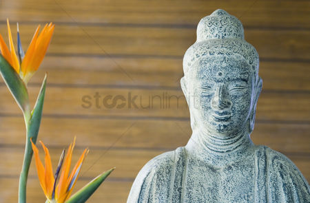 Sculpture : Close-up of a statue of buddha