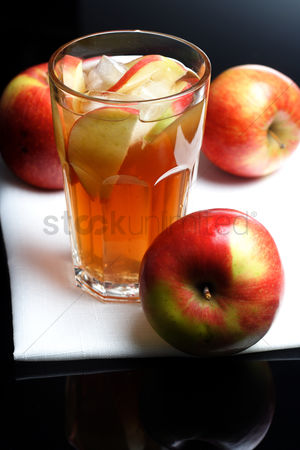 Refreshment : Close up of apple juice