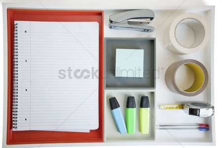 Notepad : Close-up of office equipments