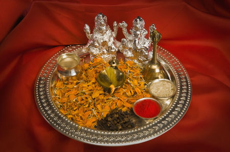 God : Close-up of religious offerings in a diwali pooja thali