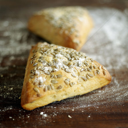 Food  beverage : Close up of the triangular pastry on table