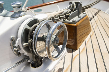 Transportation : Close-up of winch on yacht