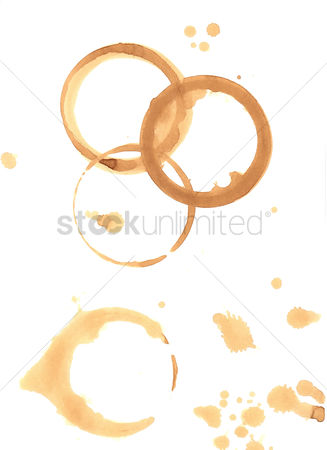 Collection : Coffee stains on white background
