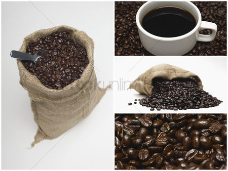 Food  beverage : Collage of coffee and beans