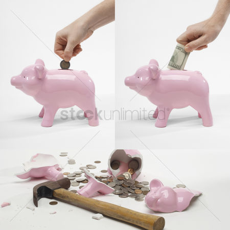 Retirement : Collage of man saving money into piggybank for retirement
