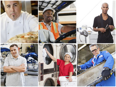 Forklift : Collage of people with different occupations