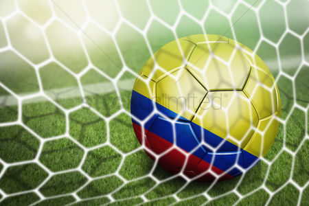 Pitch : Colombia soccer ball in goal net