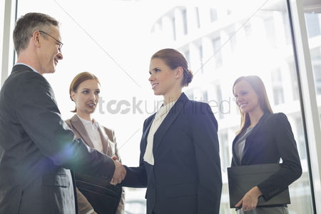 Business suit : Confident business people shaking hands in office