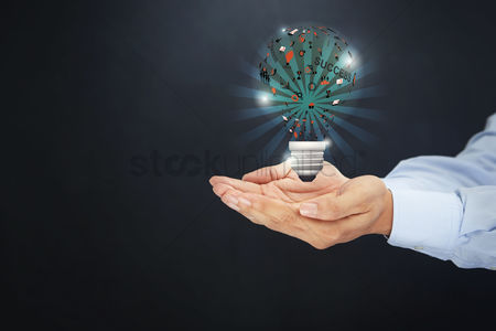 Sets : Cupped hands presenting light bulb with success concept