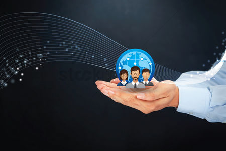 Internet : Cupped hands with group icon