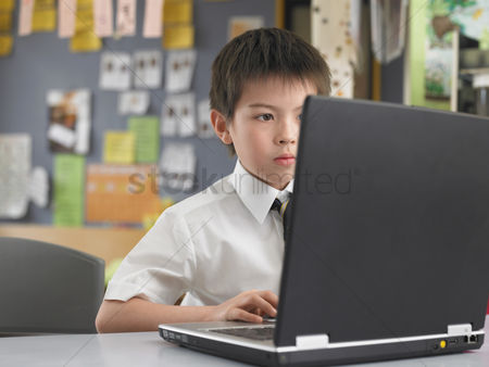 School : Elementary schoolboy using laptop in classroom