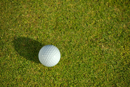 Grass : Elevated view of golf ball on grass