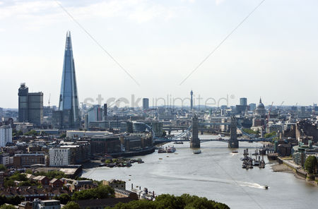 Attraction : Elevated view of tower bridge the shard and st pauls in london