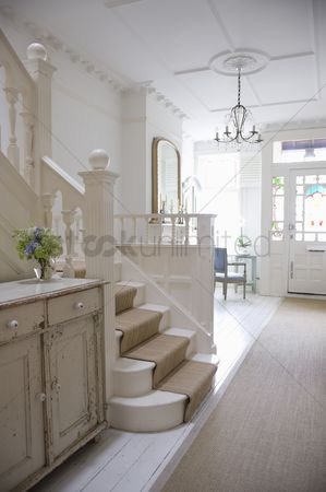 Staircase : Entrance hall with ceiling rose london