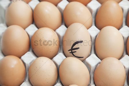 Egg tray : Euro sign on egg surrounded by plain brown eggs in carton