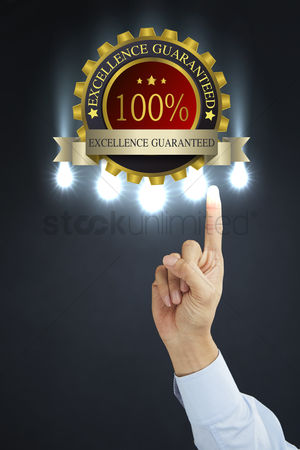 First : Excellence guaranteed concept with hand gesture