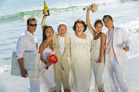 Arm raised : Family celebrating wedding on beach