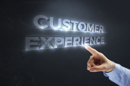 Finger : Finger pointing at digital text customer experience