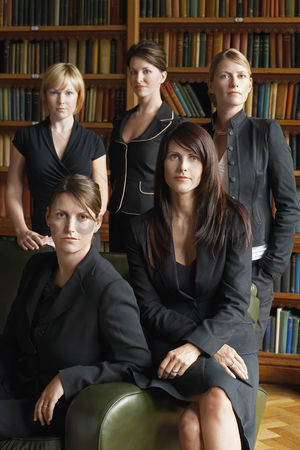 Posing : Five lawyers in library